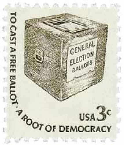 us sc #1584 - 1977 3c early ballot box, ameri con matasello.
