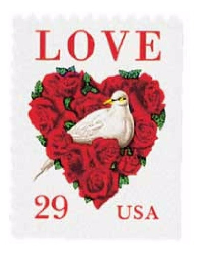 us sc #2814c - 1994 29c dove and roses love con matasello.