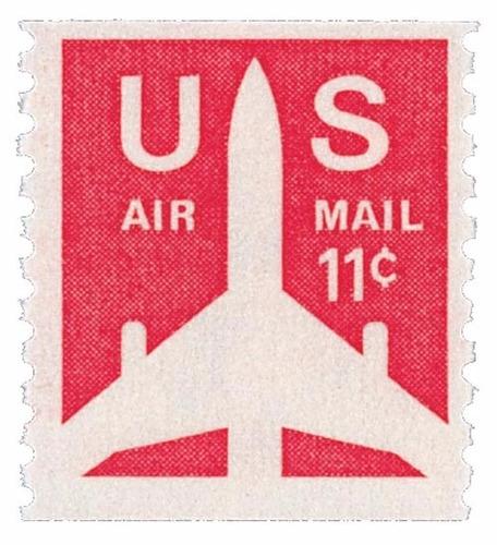 us sc #c82 - 1971 11c jet airliner coil con matasello.