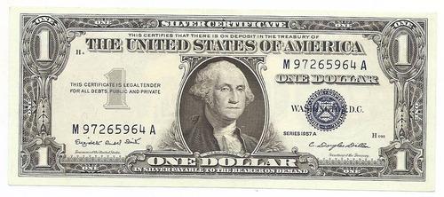 usa, cedula de 1 dolar, 1957a - sob/fe - selo azul -
