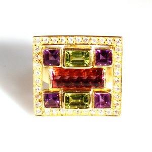 usa joias anel pedras naturais com brilhantes ouro 18k *