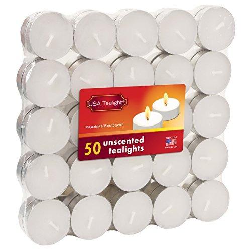 usa tealight blanco sin olor candelitas, 50-pack