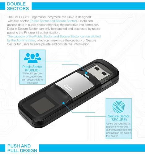 usb 64 gb alta velocidad con lector huella digital seguridad