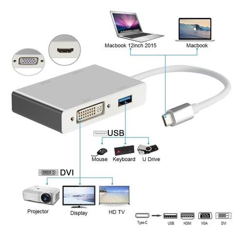 usb c hub a hdmi vga dvi usb adaptador hub macbook pro 4k