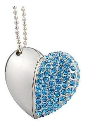 usb diseño de corazón 16 gb color azul, rosa o plateado
