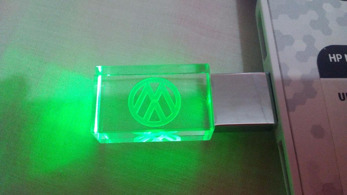 Usb Led Cristal Logo Vw 32g Verde Rojo Y Azul - $ 450.00 en Mercado ...