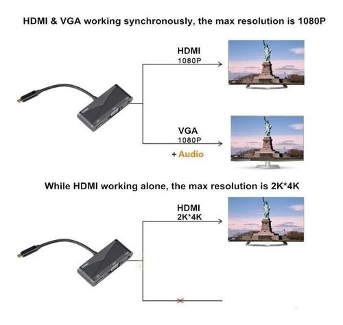 usb tipo c a hdmi 4k/ vga / usb 3.1 adaptador