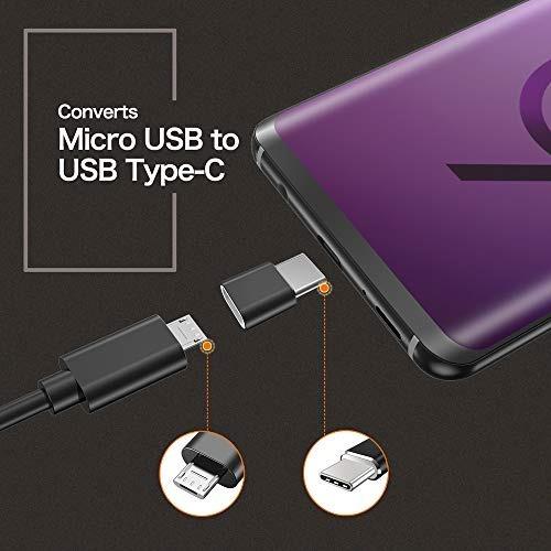 usb tipo c adaptador, 4-pack aluminio mini usb c a micro usb