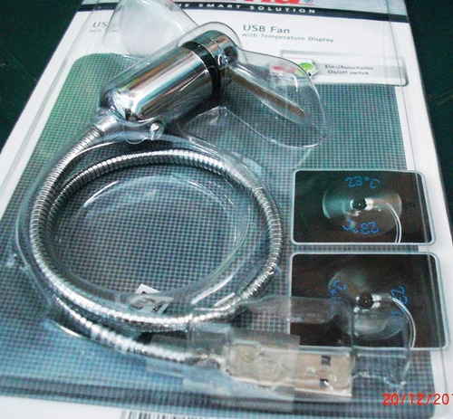 usb ventilador con indicador de temperatura led
