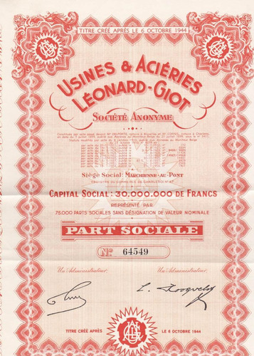 usines & aciéries léonard giot societe anonyme - 1944.