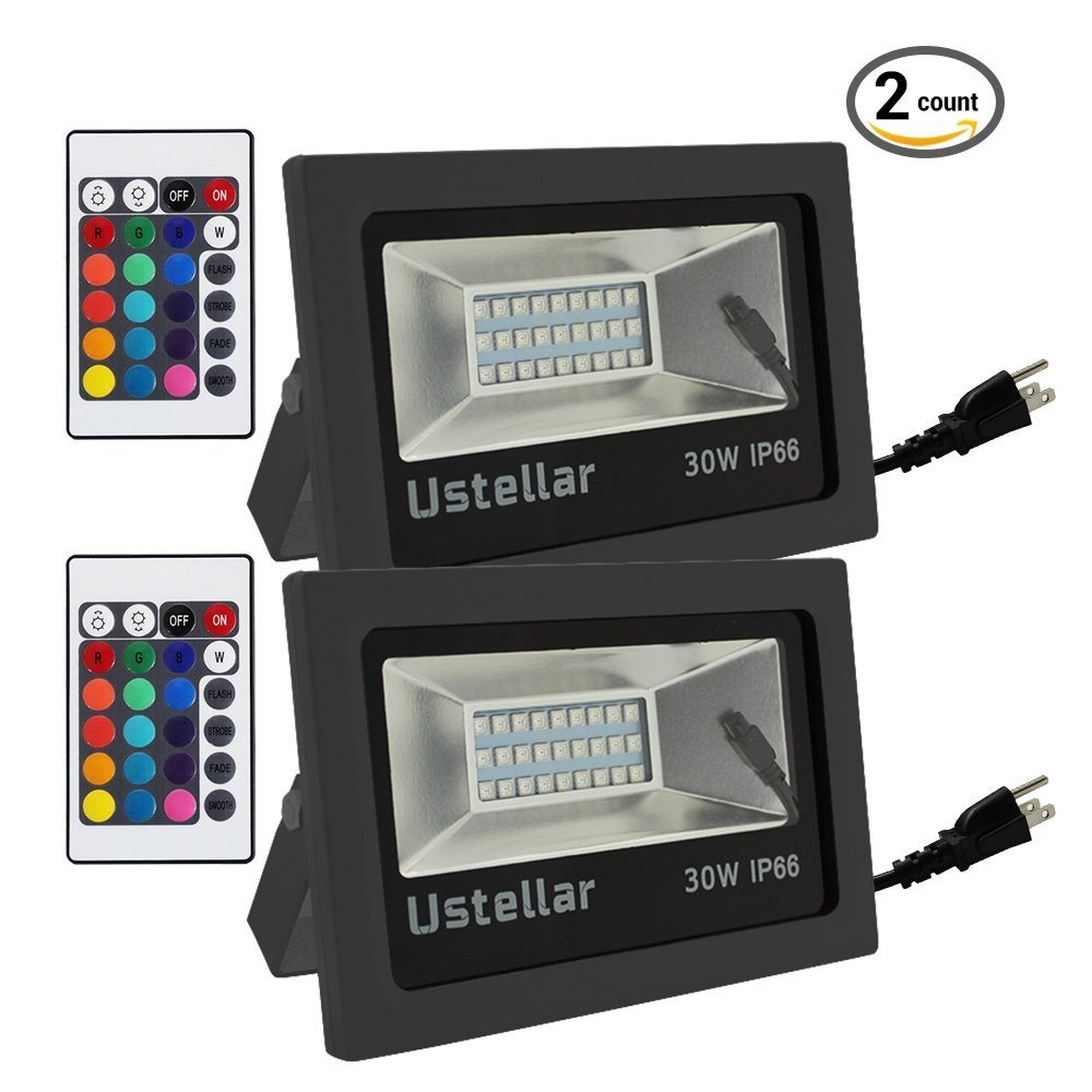 Ustellar 2 pack 30w rgb led flood lights outdoor color chan flood lights outdoor color chan cargando zoom aloadofball Image collections