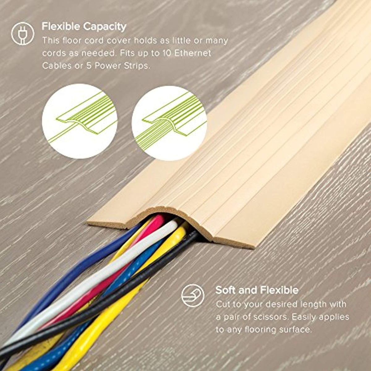 Cord Protector Wire Cover Soft Cable Hide Beige 5 Prevent Tripping Floor Safe