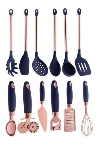 utensílios de silicone rose gold pratic chef azul 12 peças