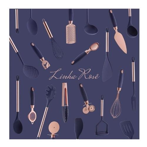 utensílios de silicone rose gold pratic chef azul 8 peças