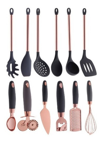 utensílios de silicone rose gold pratic chef cinza 12 peças
