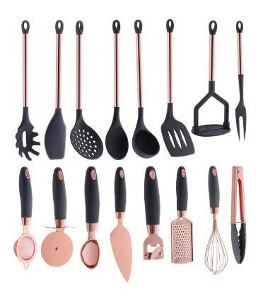 utensílios de silicone rose gold pratic chef cinza 16 peças