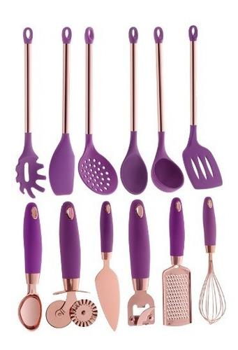 utensílios de silicone rose gold pratic chef rosa 12 peças