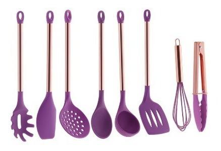utensílios de silicone rose gold pratic chef rosa 8 peças