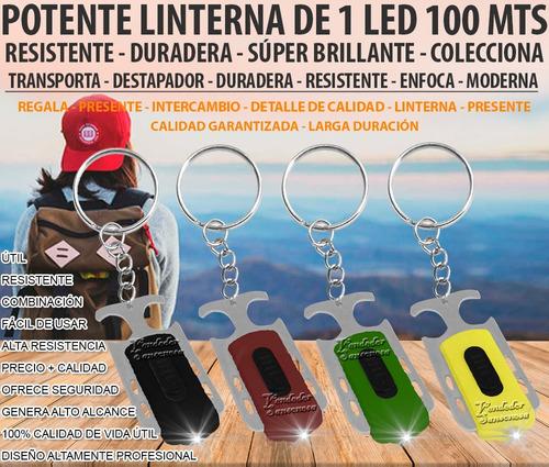 util llavero + destapador + linterna 1led 100m pop calidad