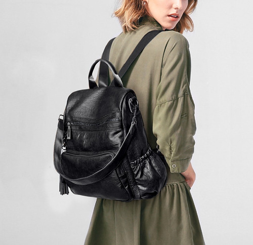 uto mujer dama mochila cuero convertible bolsillos laterales