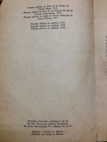 utopias del renacimiento - moro - campanella - bacon - 1966