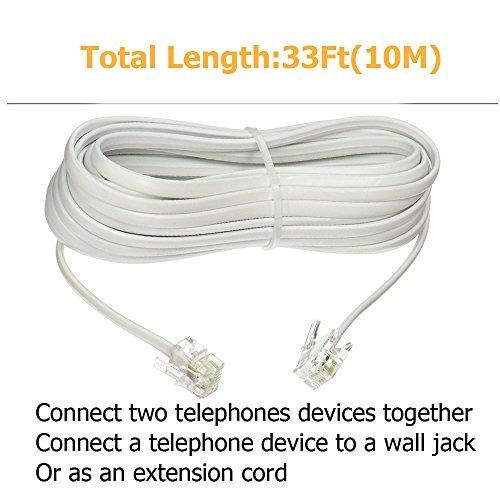 uvital 33ft cable teléfono extensión cable estándar rj-11 6