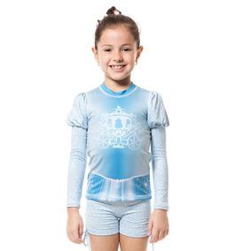 889d7aa5b Uvline Camiseta Acqua Cinderela Ml Infantil Proteção Solar
