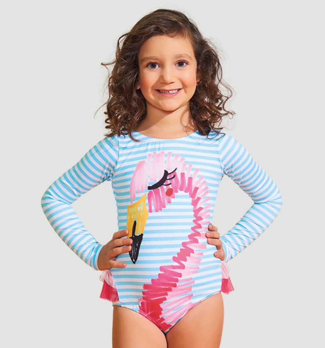 3ca95723af067 uvline maiô flamingo ml infantil estampa proteção solar. Carregando zoom.