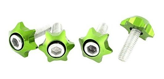 uxcell 4 x Green Stars Shaped License Plate Bolts Screws a15042100ux0958