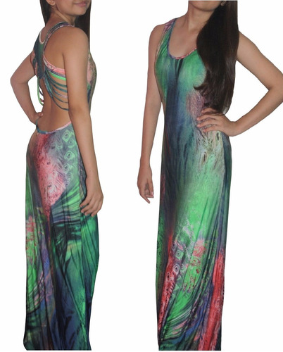 v1239 vestido cruzado espalda real verde  - somos it girls