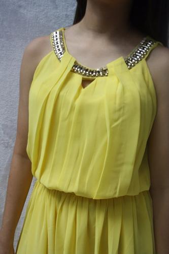 v1291 vestido en chiffon amarillo, it girls colombia