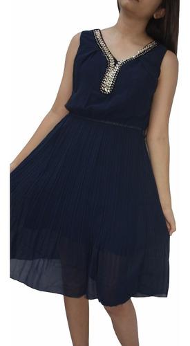v1292 vestido plisado azul, it girls colombia