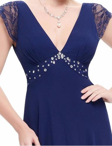 v1294 vestido de coctel, vestido elegante azul