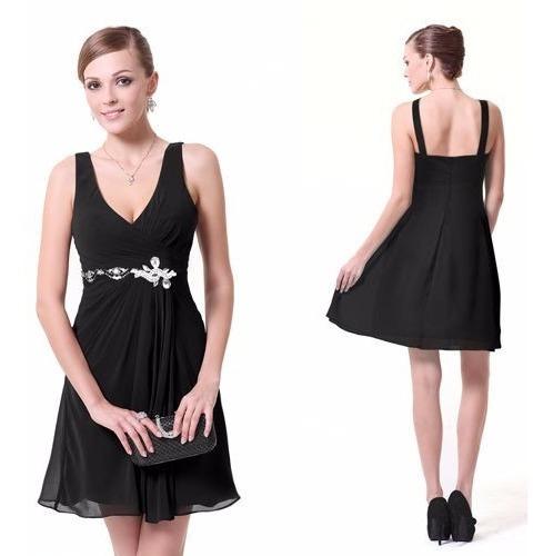 v1296 vestido de coctel talla 4, vestido negro