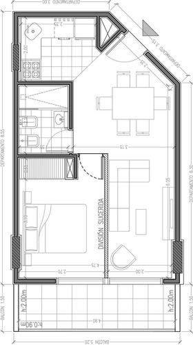v168 venta - centro a estrenar 1 dorm, balcon gran vista