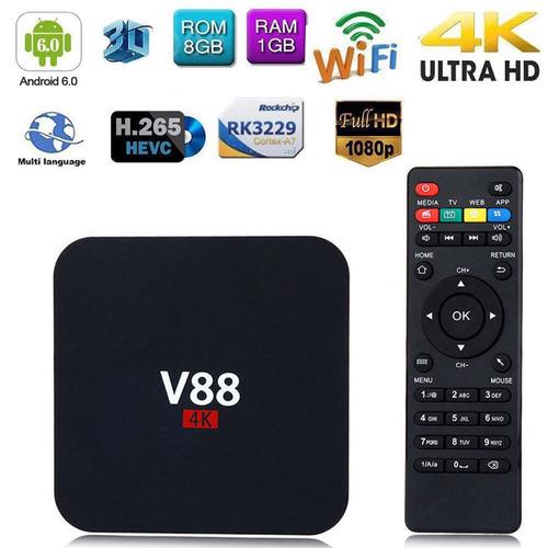 v88 android 6.0 smart tv box 4k último rk3229 quad core 8 gb