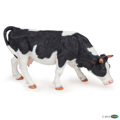 vaca blanco y negro papo animales colección pintado a mano