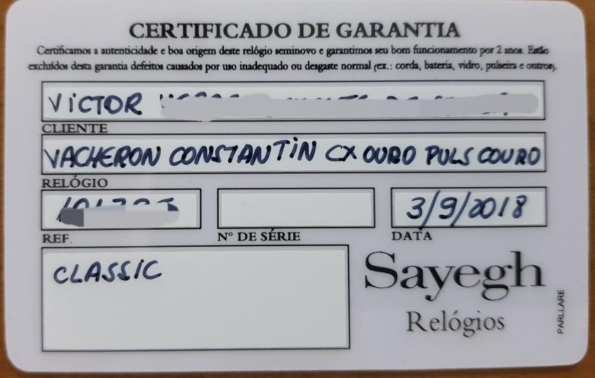 e6c188c8268 Vacheron Constantin Ouro Maciço. Nota E Garantia (baixei!) - R ...