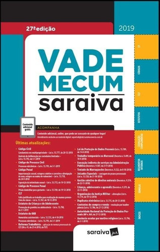 vade mecum tradicional  saraiva 27ª edição  (2019)