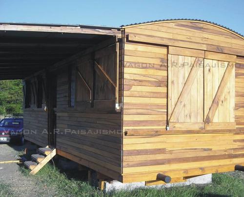 vagon de madera tren para vivienda, oficina galpon 6x3m
