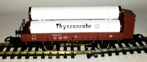 vagón transporte de tubos - escala 1/87 h0 lima