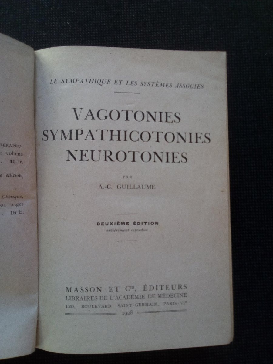 Vagotonies Sympathicotonies Neurotonies A C Guillaume - $ 1.403,00