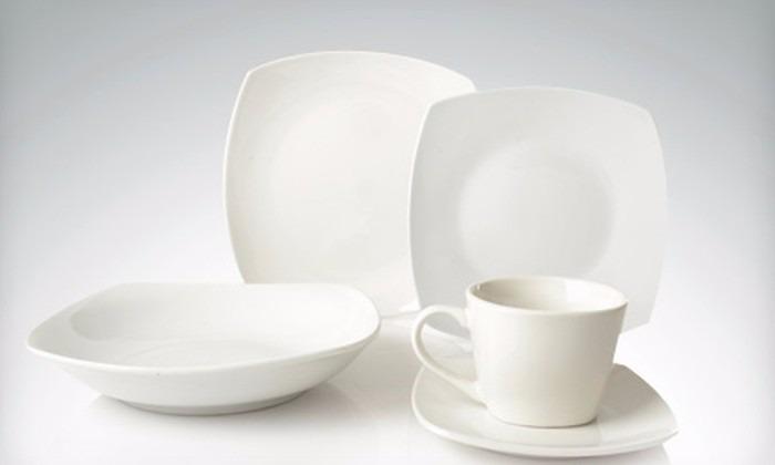 vajilla blanca cuadrada porcelana 20pzas restaurant hogar
