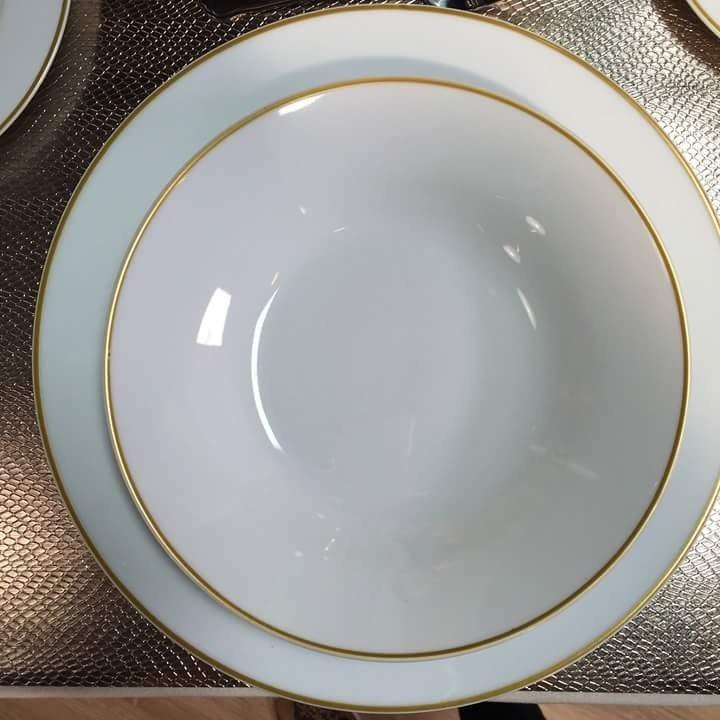 Vajilla blanca de porcelana dorado crown baccara 8 - Donde comprar vajillas ...