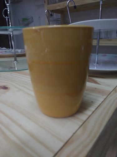 vajilla ceramica naranja - tazas y platos playos hondos