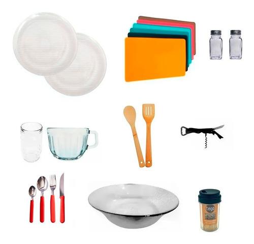 vajilla completa 61 piezas platos playos hondos vasos vidrio resistente cubiertos individuales - cuotas sin interés