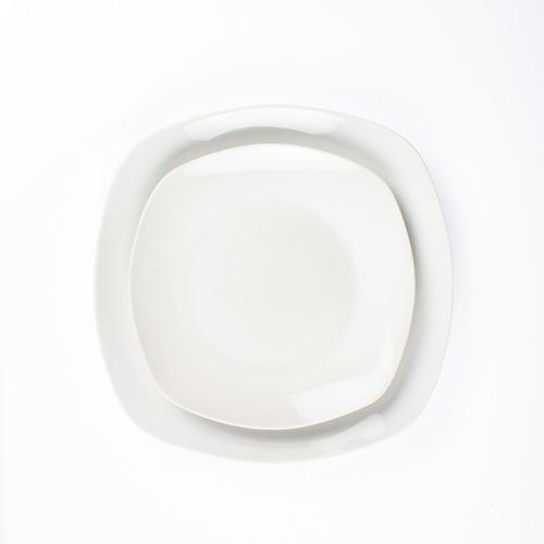 vajilla cuadrada de porcelana fina, para 6 personas