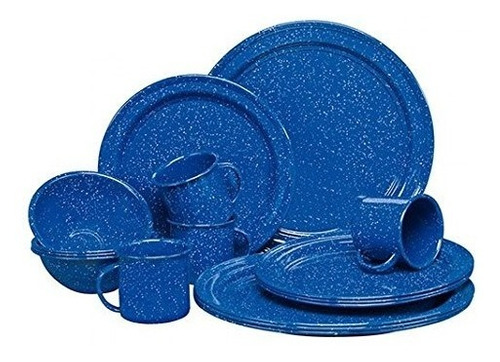 vajilla de peltre 16 pz/ 4 personas azul rustik by cinsa