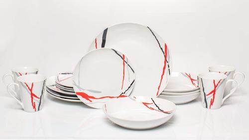 vajilla de porcelana fina para 4 personas, con 16 piezas