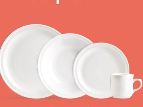 vajilla lisa blanca restaurante hoteles 25 personas 125 pzas